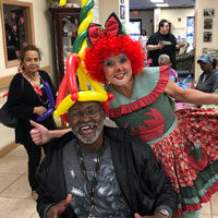Johny with Clown at adult day care