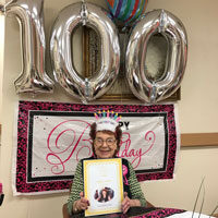 Sally 100th birthday at adult day care